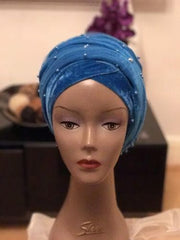 Beaded Velvet Turban Double Head Wrap(One Size) in Teal Blue - African Clothing from CUMO LONDON