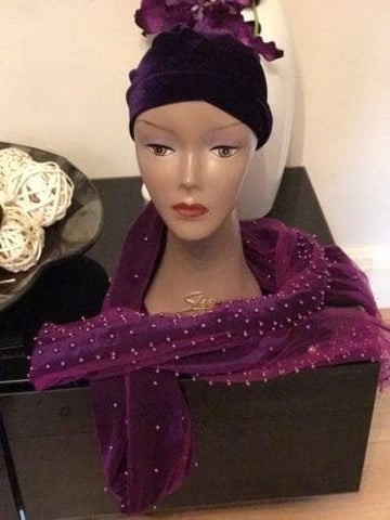 Full Beaded  Purple Double velvet Turban headwraps ....available in diff colour