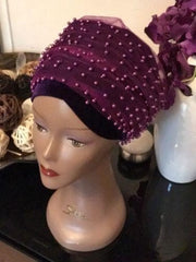 Full Beaded Purple Double velvet Turban headwraps ....available in diff colour - African Clothing from CUMO LONDON