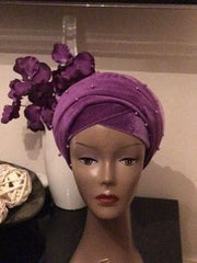Single Beaded velvet Turban headwraps With Mesh Net in Lilac - African Clothing from CUMO LONDON