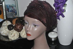 Velvet Turban Beaded In Single headwraps With Mesh Net in Lilac - African Clothing from CUMO LONDON