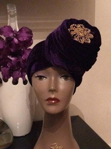 Double Velvet Turban headwraps - Purple (also available in other colours) - ATMKollectionz