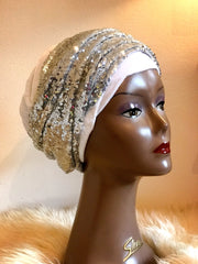 White Double Sequin Velvet Turban Headwraps - Anna - African Clothing from CUMO LONDON