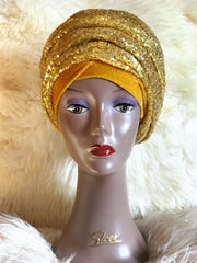 Double Sequin Velvet Turban Headwrap - Tope - ATMKollectionz