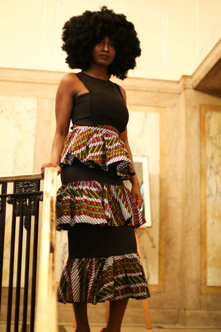 New in Mercedes African Print Ankara 3 Tier Skirts - African Clothing from CUMO LONDON