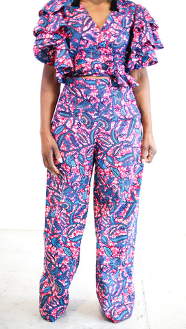New in African Print Ankara Pallazo Trousers and Wrap Top set - 2 pcs