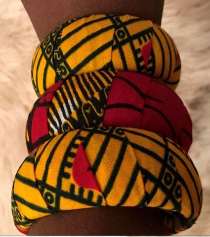 3pcs Ankara print Bangles (in Variable colours)