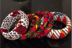 African Ankara Print 5 Pcs Bangles - African Clothing from CUMO LONDON