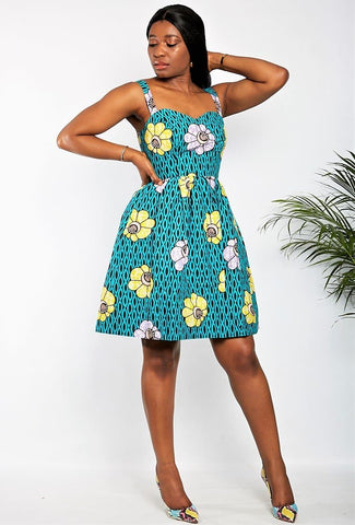 Oona - New in African Print Summer Shift Mini Dress - Blue - African Clothing from CUMO LONDON