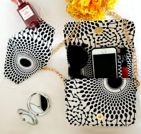 African Print Shoulder Bag with Matching Facemask - African Clothing from CUMO LONDON