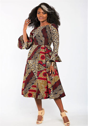 Aisha African Print Flare Midi Dress in Long sleeves - African Clothing from CUMO LONDON