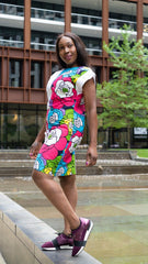 New in - African Print Ankara Shift Dress - White - ATMKollectionz