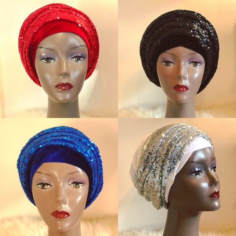 White Double Sequin Velvet Turban Headwraps - Anna - ATMKollectionz