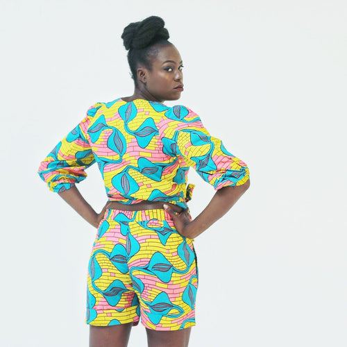 African Ankara Print Women Wrap Top and Shorts