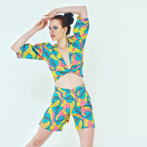 African Ankara Print Women Wrap Top and Shorts Set - African Clothing from CUMO LONDON