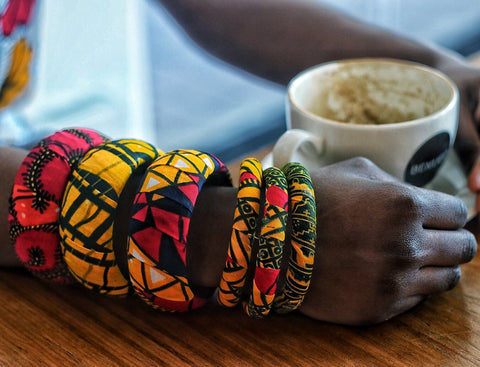 African Print Ankara Chunky Bangles - African Clothing from CUMO LONDON