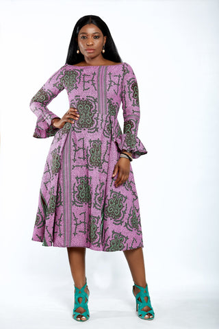 Safiyah African Print Flare Midi Dress in Long sleeves - African Clothing from CUMO LONDON