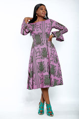 Safiyah African Print Flare Midi Dress in Long sleeves