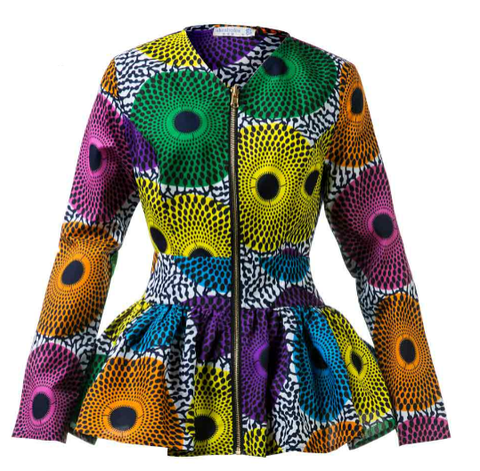 New In African Print Long Sleeve High Waist Top (Also available in Plus Size) - ATMKollectionz