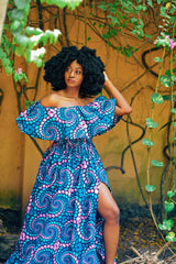 New in Alexa African Ankara Print off shoulder Maxi Dress - African Clothing from CUMO LONDON