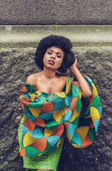 African Print Ankara Fitted Green Dress with Cut-out Sleeves - African Clothing from CUMO LONDON