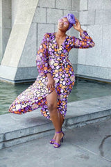 African Print multicoloured Ankara Silk Print Maxi Dress - African Clothing from CUMO LONDON