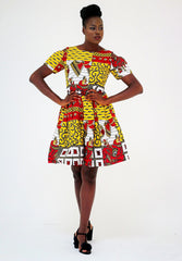 African Print Ankara Shift Mini Dress - Yellow - ATMKollectionz