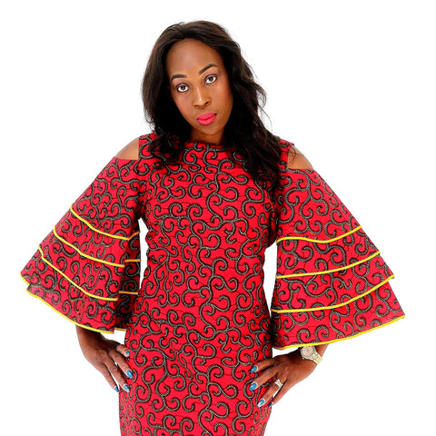 African Print Ankara Bell Sleeves Dress - ATMKollectionz
