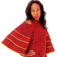 African Print Ankara Bell Sleeves Dress - African Clothing from CUMO LONDON