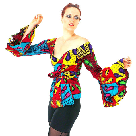 African Print Ankara Long sleeves Wrap Top - African Clothing from CUMO LONDON