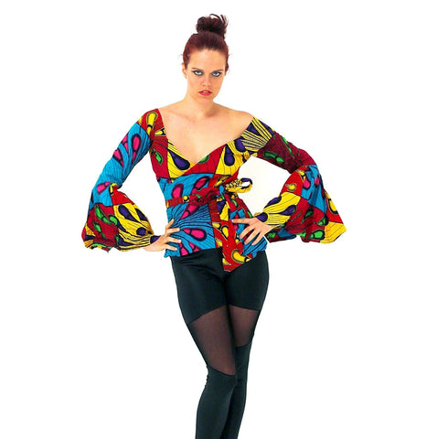 African Print Ankara Long sleeves Wrap Top