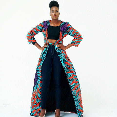 African Print Ankara Long Dress Jacket - African Clothing from CUMO LONDON