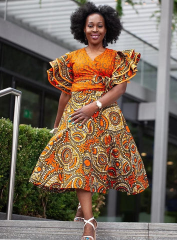 Shaku Shaku African Print Batik Wrap Top - Orange - ATMKollectionz