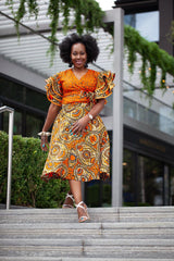 Shaku Shaku African Print Batik Wrap Top - Orange - African Clothing from CUMO LONDON