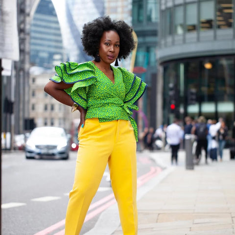 Shaku Shaku African Print Batik Wrap Top - Green - African Clothing from CUMO LONDON