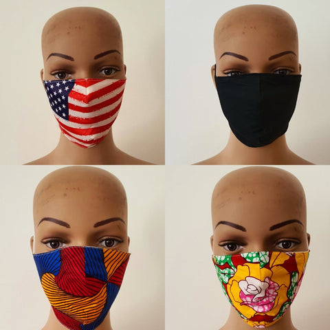 Bundle Offer: African Print Cotton Face Mask / Anti-bacterial Face Masks - ATMKollectionz