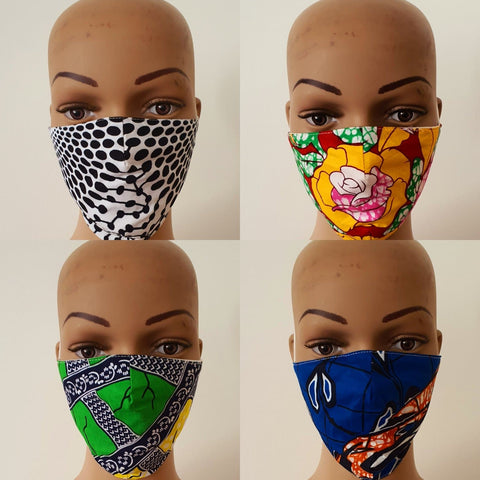African Print Face Mask | Ankara Fabric Print Face Masks - Folle - African Clothing from CUMO LONDON