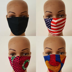 African Print Face Mask | Ankara Fabric Print Face Masks - Nneka - African Clothing from CUMO LONDON