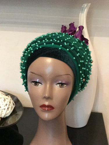 Pearl Fully Beaded Velvet Turban Head Wrap Hijab - Extra Large
