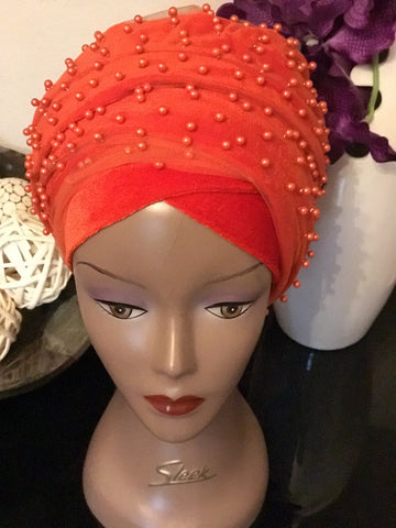 Pearl Beaded Velvet Turban Head Wrap - Extra Large - ATMKollectionz