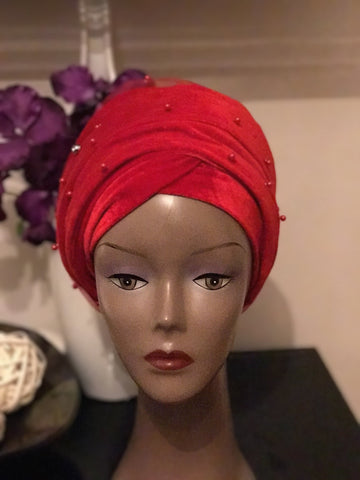 Velvet Beaded Turban - Double Hand Headwrap - ATMKollectionz