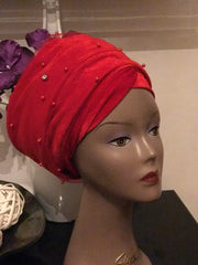 Mesh Net beaded Single hand Velvet Turban Cap Headwrap, Hijab Turban Headwrap. Ladies Tulle Net beaded Red Velvet Turban Headwrap. - African Clothing from CUMO LONDON