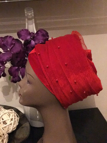 Mesh Net beaded Single hand Velvet Turban Cap Headwrap, Hijab Turban Headwrap. Ladies Tulle Net beaded Red Velvet Turban Headwrap.