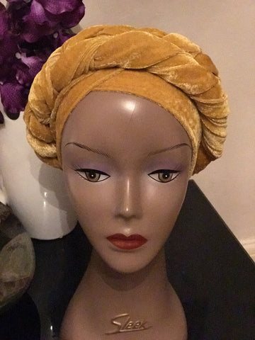 Velvet Plain Turban - Double Hand Headwrap - ATMKollectionz