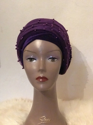 Purple Beaded Velvet Turban - Double Hand