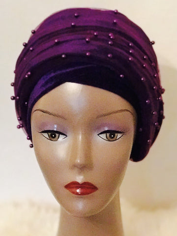 Purple Beaded Velvet Turban - Double Hand - African Clothing from CUMO LONDON