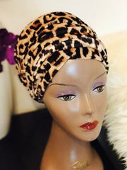Animal print Velvet Turban - Double Hand - Chioma - African Clothing from CUMO LONDON