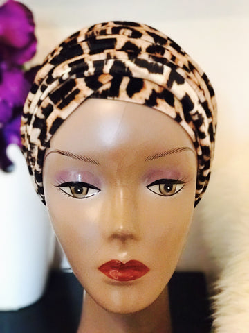Animal print Velvet Turban - Double Hand - Chioma - ATMKollectionz