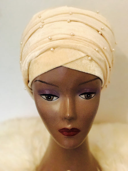 Pearl Beaded Velvet Turban Head Wrap (Large) - African Clothing from CUMO LONDON