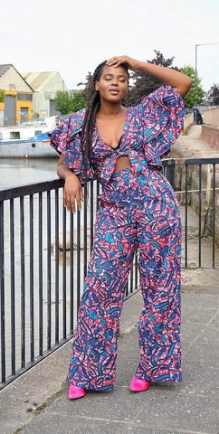 New in African Print Ankara Pallazo Trousers and Wrap Top set - 2 pcs - African Clothing from CUMO LONDON